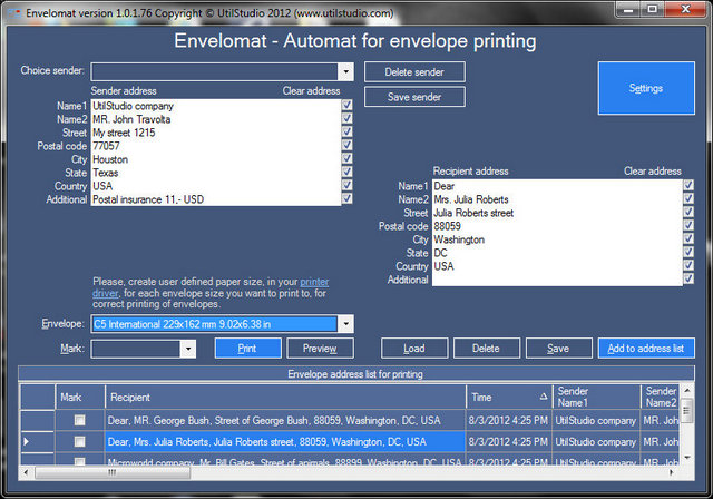 Envelomat Screen shot