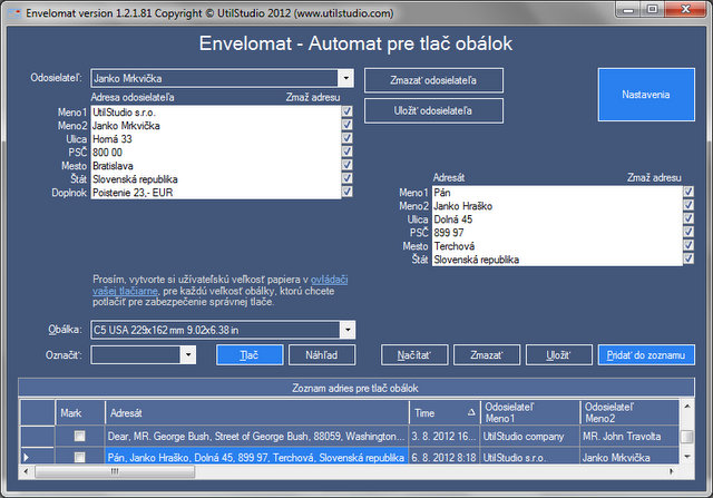 Envelomat - Envelope printing software